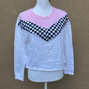 Color block long sleeve white blouse top sz M